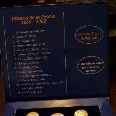 Monedas de España: HISTORIA DE LA PESETA 15 MONEDAS DE PLATA MACIZA DE 1A LEY. Lote 169128832