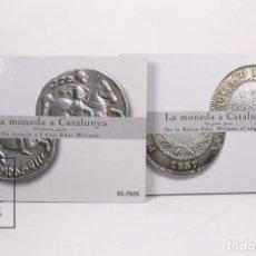 Monedas de España: COLECCIÓN DE REPRODUCCIONES - LA MONEDA A CATALUNYA 1ª Y 2º PARTE - EL PAIS - BAÑADAS EN ORO Y PLATA. Lote 171604899