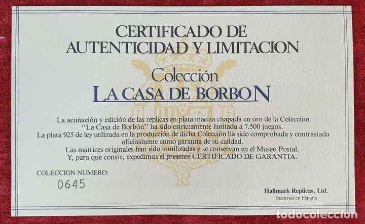 Monedas de España: COLECCIÓN DE SELLOS LA CASA DE BORBÓN. PLATA 925 CHAPADA EN ORO. SIGLO XX. - Foto 14 - 171657367