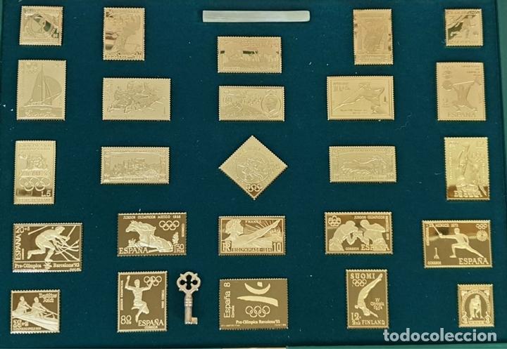 Monedas de España: COLECCIÓN DE SELLOS DE ATENAS A BARCELONA. PLATA 925 CHAPADA EN ORO. SIGLO XX. - Foto 2 - 171663679