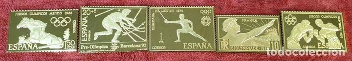 Monedas de España: COLECCIÓN DE SELLOS DE ATENAS A BARCELONA. PLATA 925 CHAPADA EN ORO. SIGLO XX. - Foto 4 - 171663679