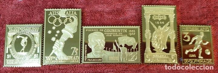 Monedas de España: COLECCIÓN DE SELLOS DE ATENAS A BARCELONA. PLATA 925 CHAPADA EN ORO. SIGLO XX. - Foto 5 - 171663679