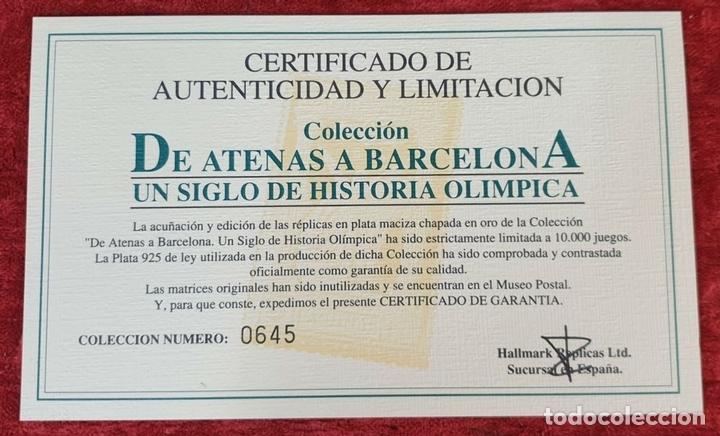 Monedas de España: COLECCIÓN DE SELLOS DE ATENAS A BARCELONA. PLATA 925 CHAPADA EN ORO. SIGLO XX. - Foto 11 - 171663679