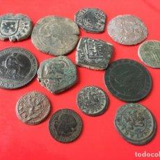 Monedas de España: LOTE DE 13 COBRES DE LA MONARQUIA ESPAÑOLA(INCLUYE UN REAL DE VELLON DE SEVILLA). Lote 173554682