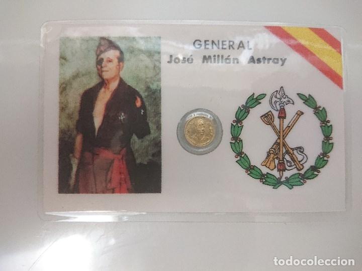 MONEDA PEQUEÑA DE GENERAL JOSE MILLAN ASTRAY FUNDADOR DE LA LEGION, LEER DESCIPCION (Numismática - España Modernas y Contemporáneas - Colecciones y Lotes de conjunto)