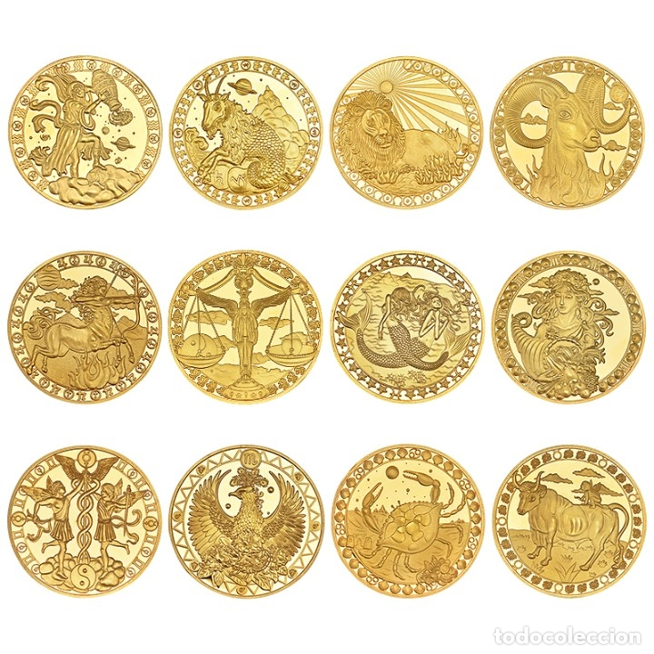 Monedas de España: LOTE 12 MONEDAS CONSTELACIONES - BAÑADA EN ORO 24KT - CAPSULA - EDICION LIMITADA - Foto 2 - 179050037
