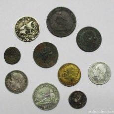 Monedas de España: CONJUNTO DE DIEZ MONEDAS ANTIGUAS DE ESPAÑA, CUATRO DE ELLAS EN PLATA. LOTE 2055. Lote 180926365