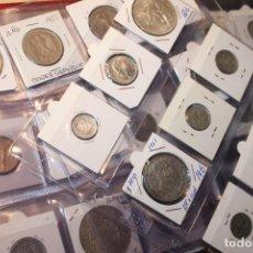 Monedas de España: COLECCIÓN 74 MONEDAS, MUCHAS DE PLATA. DIFERENTES PAISES Y AÑOS. TODAS EN IMÁGENES. SILVER. Lote 183699057