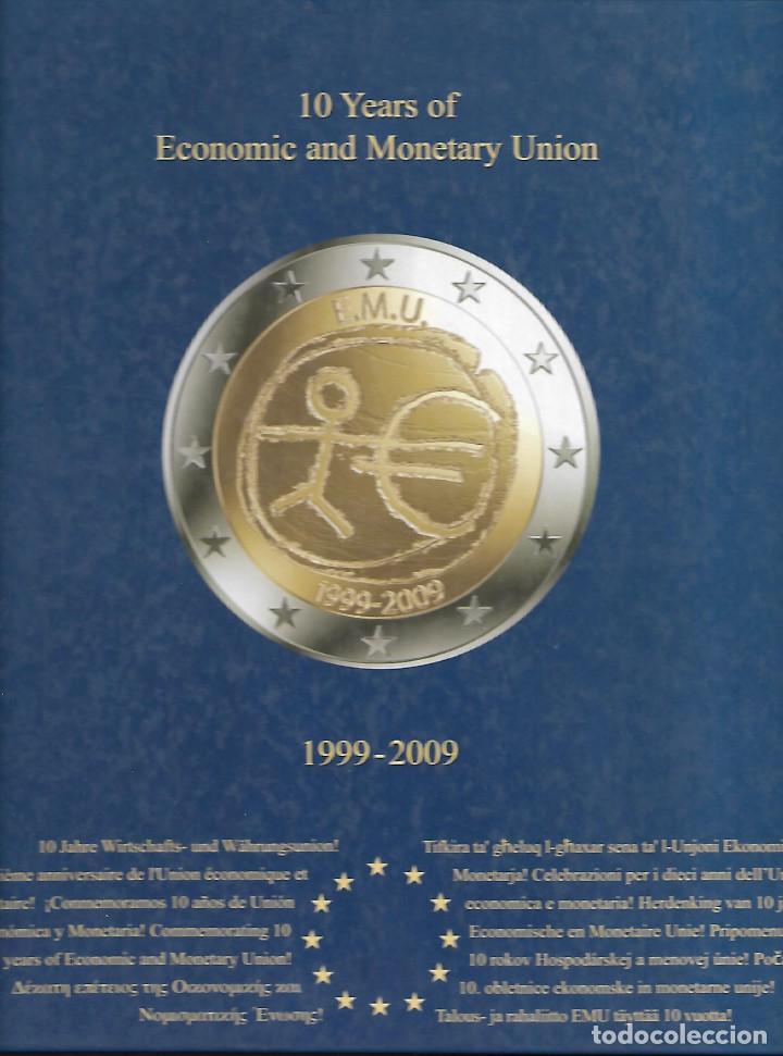 Monedas de España: RARA CARPETA MONEDAS DE 2 € DEL TRATADO 10 AÑOS DE LA UNION EUROPEA MÁS ALEMANIA 5 LETRAS - Foto 2 - 184723212