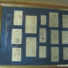Monedas de España: CUADRO CON 14 BILLETES LAMINADOS EN ORO DE 24KTS. . Lote 184758372