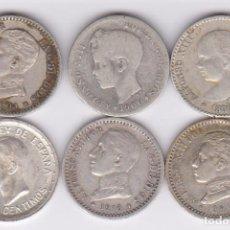 Monedas de España: MONEDAS - LOTE DE 6 DE 50 CTS. FECHAS DIFERENTES - DE ALFONSO XIII (BC+ A EBC). Lote 184835823