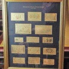 Monedas de España: HISTORIA DE LA PESETA EN PAPEL MONEDA 1874-1985, 14 FACSÍMILES, LÁMINAS DE ORO DE PRIMERA LEY. Lote 188728793