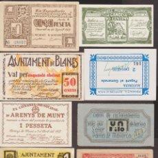 Monedas de España: BILLETES LOCALES - LOTE DE 8 REPRODUCCIONES DE BILLETES DE PUEBLO, DIFERENTES (EBC/SC). Lote 189546816