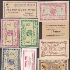 Monedas de España: BILLETES LOCALES - LOTE DE 11 REPRODUCCIONES DE BILLETES DE PUEBLO, DIFERENTES (EBC/SC). Lote 189546896