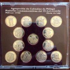 Monedas de España: AGRUPACIÓN DE COFRADÍAS DE MÁLAGA, 1996. 13 MONEDAS DE PLATA DE LEY. Lote 193955247