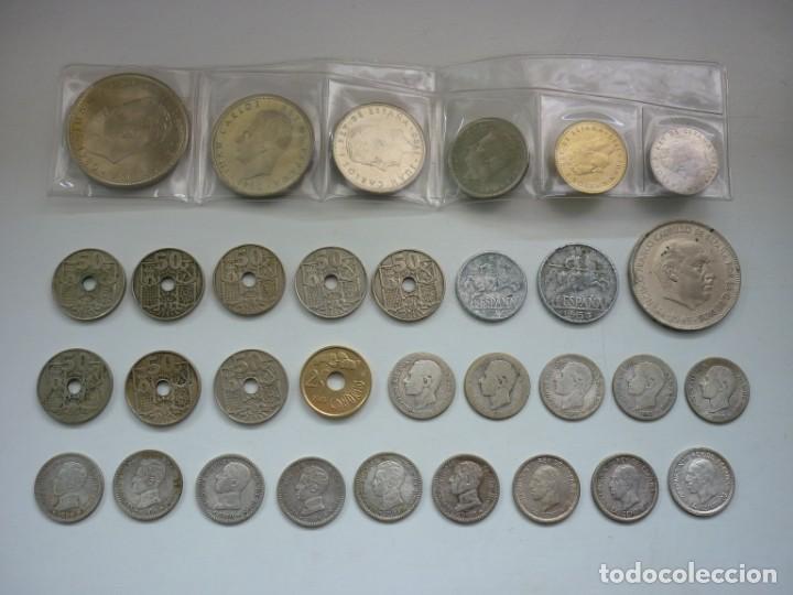 PEQUEÑA COLECCIÓN DE MONEDAS ESPAÑOLAS, QUE DATA DE 1880 A 1980. (Numismática - España Modernas y Contemporáneas - Colecciones y Lotes de conjunto)