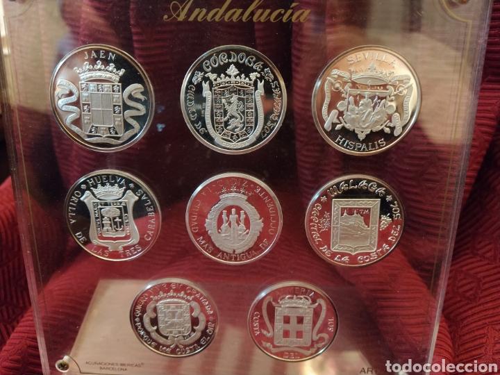 Monedas de España: Ocho monedas plata de ley. Representa las ocho provincias andaluzas. Expuestas en metaquilato. - Foto 2 - 194253022