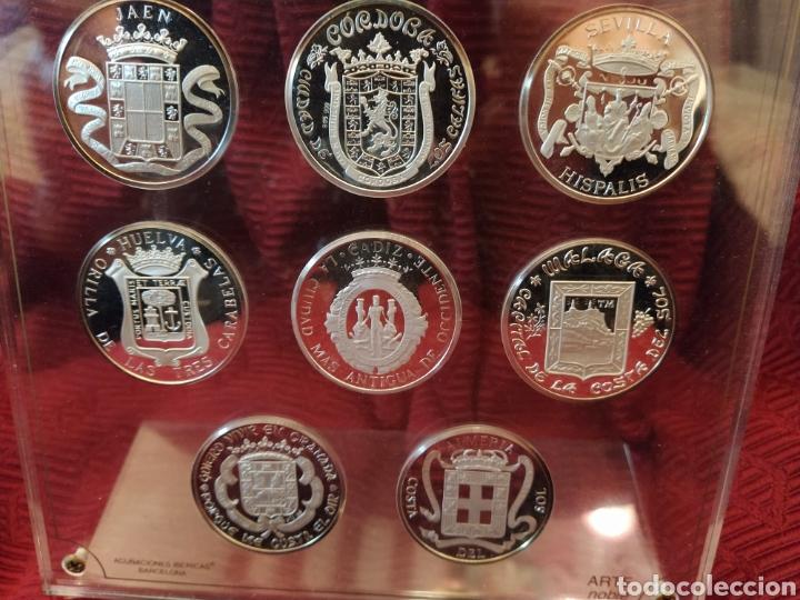 Monedas de España: Ocho monedas plata de ley. Representa las ocho provincias andaluzas. Expuestas en metaquilato. - Foto 3 - 194253022