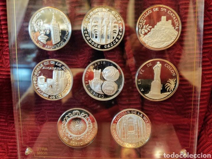 Monedas de España: Ocho monedas plata de ley. Representa las ocho provincias andaluzas. Expuestas en metaquilato. - Foto 4 - 194253022