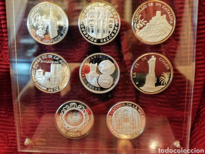 Monedas de España: Ocho monedas plata de ley. Representa las ocho provincias andaluzas. Expuestas en metaquilato. - Foto 5 - 194253022