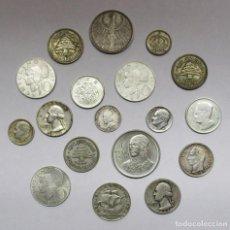 Monedas de España: CONJUNTO DE 18 MONEDAS EXTRANJERAS ANTIGUAS EN PLATA. EUROPA, ASIA, AFRICA, AMERICA. LOTE 2333. Lote 195117032