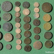 Monedas de España: ESPAÑA: LOTE DE MONEDAS DE COBRE DE FERNANDO VII, ISABEL 2, ALFONSO XII Y XIII Y REPÚBLICA. Lote 201211335