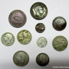 Monedas de España: CONJUNTO DE 10 MONEDAS ESPAÑOLAS ANTIGUAS PLATA, COBRE Y NIQUEL DE LOS AUSTRIAS Y BORBONES LOTE 2874. Lote 205768321