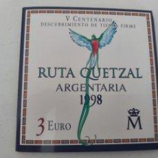 Monedas de España: MONEDA 1998. TRES EUROS. RUTA QUETZAL. NUEVA.. Lote 205788065