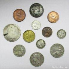 Monedas de España: CONJUNTO DE 12 MONEDAS ESPAÑOLAS ANTIGUAS PLATA, COBRE Y LATON DE LOS BORBONES Y REPUBLICA LOTE 2922. Lote 206254286