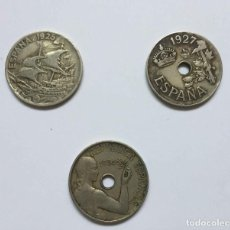 Monedas de España: LOTE 3 MONEDAS: 25 CÉNTIMOS (1925, 1927 Y 1934) ALFONSO XIII Y 2ª REPÚBLICA ¡COLECCIONISTA!. Lote 206812485