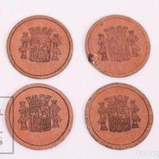Monedas de España: CONJUNTO DE 4 CARTONES MONEDA - II REPÚBLICA ESPAÑOLA - 15 Y 25 CÉNTIMOS - AÑOS 30. Lote 210818139