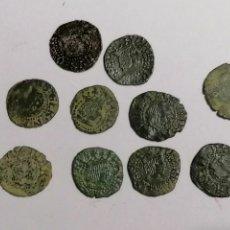 Moedas de Espanha: LOTE 10 DINERS GIRONA CARLOS I, FELIPE II, FELIPE III. Lote 212803846