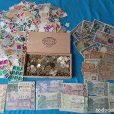 Monedas de España: SUPERLOTE VARIADO ÉPOCA FRANCO Y JUAN CARLOS SELLOS MONEDAS LOTERÍA BILLETES. Lote 213092775