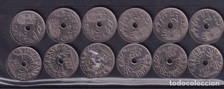 MONEDAS ESPAÑA AÑO 1937 MONEDAS DE 25 CENTIMOS 12 UNIDADES BUEN ESTADO VER FOTOS (Numismática - España Modernas y Contemporáneas - Colecciones y Lotes de conjunto)