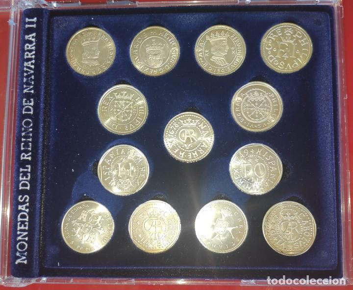 NAVARRA-2 13 MONEDAS DE PLATA -COLECCION EN ESTUCHE *MONEDAS DE REYNO DE NAVARRA -2*TODAS +13-FICHAS (Numismática - España Modernas y Contemporáneas - Colecciones y Lotes de conjunto)