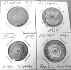 Monedas de España: LOTE DE 25 CÉNTIMOS, 1925 , 1927, 1934, 1937. Lote 229393115