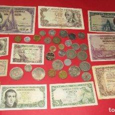 Monedas de España: LOTE DE 40 MONEDAS Y BILLETES ESPAÑOLES.. Lote 235907265