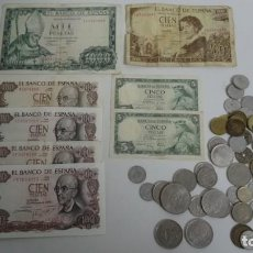 Monedas de España: LOTE DE BILLETES Y MONEDAS ESPAÑOLAS. Lote 246752405