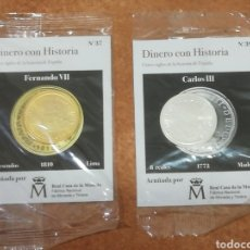 Moedas de Espanha: MONEDAS CON HISTORIA BAÑADA EN PLATA Y EN ORO EN SU EMBALAJE ORIGINAL.. Lote 252085000