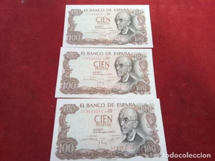 3 BILLETES DE 100 PTS 1970 , MANUEL DE FALLA , SIN CIRCULAR Y CORRELATIVOS (Numismática - España Modernas y Contemporáneas - Colecciones y Lotes de conjunto)