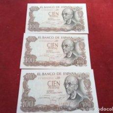 Monedas de España: 3 BILLETES DE 100 PTS 1970 , MANUEL DE FALLA , SIN CIRCULAR Y CORRELATIVOS. Lote 261214115