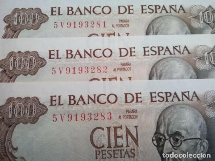 Monedas de España: 3 BILLETES DE 100 PTS 1970 , MANUEL DE FALLA , SIN CIRCULAR Y CORRELATIVOS - Foto 2 - 261214115