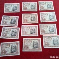 Monedas de España: 12 BILLETES DE 1 PTS,1953 6 S/C. Y 6 B.C.. Lote 261225020