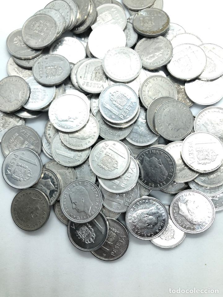 Monedas de España: 100 monedas de 1 peseta de aluminio Rey Juan Carlos 1º. Precio especial revendedor,liquidación stock - Foto 2 - 263006700