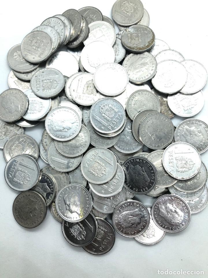Monedas de España: 100 monedas de 1 peseta de aluminio Rey Juan Carlos 1º. Precio especial revendedor,liquidación stock - Foto 3 - 263006700