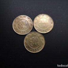 Monedas de España: LOTE 3 MONEDAS 200 LIRAS ITALIA. Lote 264139984