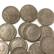 Monedas de España: 12 MONEDAS DE 5 PESETAS DE 1957 ESTRELLA 66.. Lote 267383679
