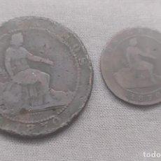 Monedas de España: LOTE 2 PIEZAS 2 Y 10 CÉNTIMOS 1870. Lote 276121488