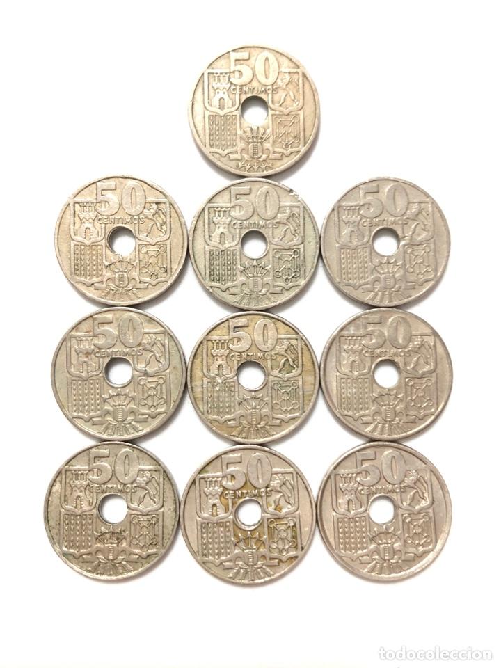Monedas de España: 50 céntimos. Lote completo. Flechas invertidas y la escasísima 1963 estrella 63. - Foto 4 - 278331483