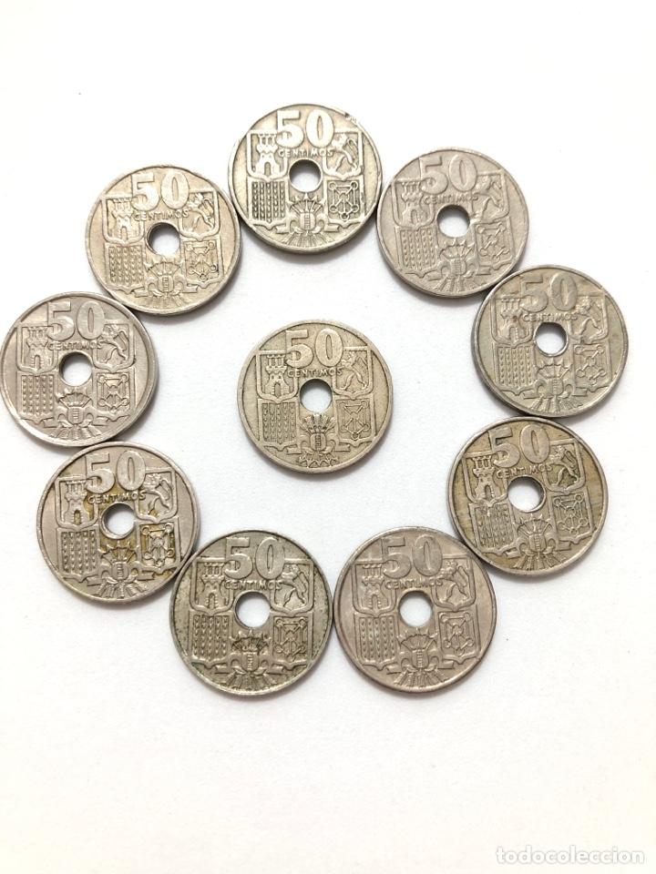 Monedas de España: 50 céntimos. Lote completo. Flechas invertidas y la escasísima 1963 estrella 63. - Foto 6 - 278331483